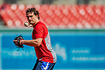 14 April 2018: Washington Nationals second baseman Daniel Murphy (currently on the disabled list) works on infield grounders prior to a game against the Colorado Rockies at Nationals Park in Washington, DC. The Nationals rallied to defeat the Rockies 6-2 in the 3rd game of their 4-game series. Mandatory Credit: Ed Wolfstein Photo *** RAW (NEF) Image File Available ***