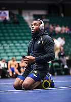 Jordan Burroughs of the United States (cq) warms up before the final round of the Pan American Championships at Dr. Pepper Arena in Frisco, Texas, Saturday, Saturday 27, 2015. Burroughs eventually won gold at the event.<br /> <br /> Photo by Matt Nager