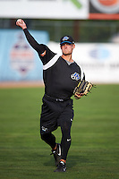 Hudson Valley Renegades pitcher Sam Triece (33) throws in the outfield before a game against the Vermont Lake Monsters on September 3, 2015 at Centennial Field in Burlington, Vermont.  Vermont defeated Hudson Valley 4-1.  (Mike Janes/Four Seam Images)