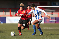 Lauren James of Manchester United Women and Victoria Williams of Brighton & Hove Albion Women during Brighton & Hove Albion Women vs Manchester United Women, SSE Women's FA Cup Football at Broadfield Stadium on 3rd February 2019