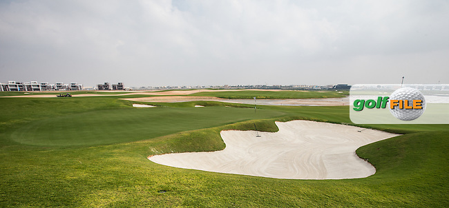 View of the 3rd green at Al Zorah Golf Club, Dubai, United Arab Emirates.  26/01/2016. Picture: Golffile | David Lloyd<br /> <br /> All photos usage must carry mandatory copyright credit (&copy; Golffile | David Lloyd)