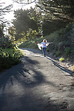 USA, California, Big Sur, Esalen, walking down a path towards the Meditation Center, the Esalen Institute