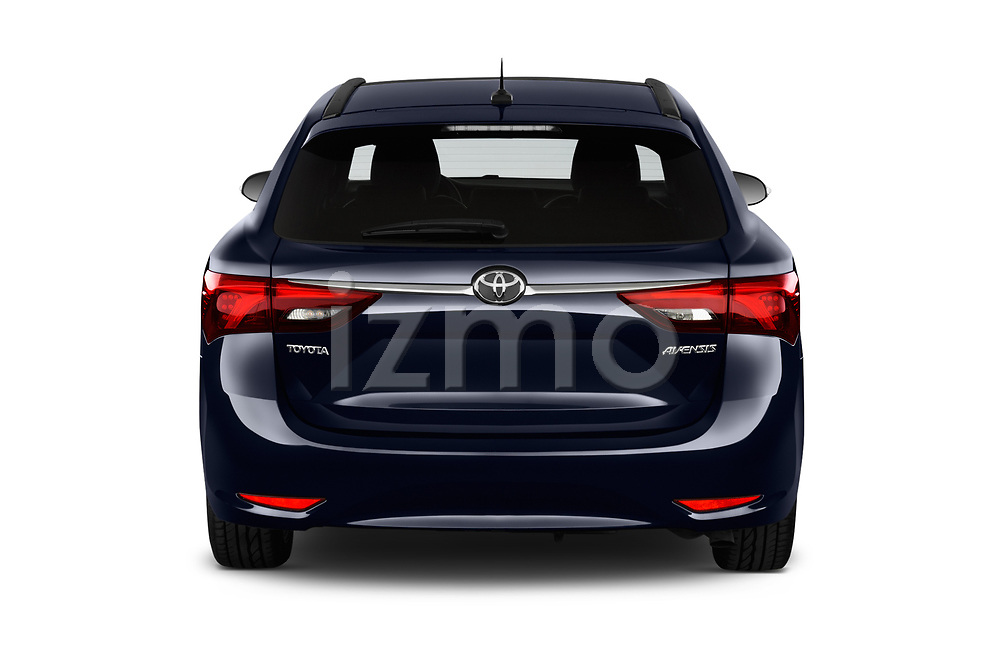 Straight rear view of a 2017 Toyota Avensis TS Premium 5 Door Wagon stock images