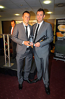 Pictured L-R: Gylfi Sigurdsson receiving the Goal of The Season Award by Blue Bell Neath Hotel owner. Thursday 10 May 2012<br /> Re: Swansea City FC awards dinner at the Liberty Stadium.