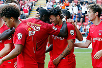 O's Macauley Bonne scores 2nd pen and celebrates during Leyton Orient vs Guiseley, Vanarama National League Football at the Matchroom Stadium on 2nd September 2017