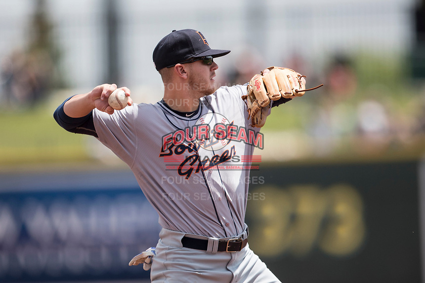 Bowling Green Hot Rods third baseman Michael Brosseau (10) makes a throw to first base against the Great Lakes Loons during the Midwest League baseball game on June 4, 2017 at Dow Diamond in Midland, Michigan. Great Lakes defeated Bowling Green 11-0. (Andrew Woolley/Four Seam Images)