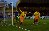 Jason McCarthy of Wycombe Wanderers celebrates scoring the opening goal during the Sky Bet League 2 match between AFC Wimbledon and Wycombe Wanderers at the Cherry Red Records Stadium, Kingston, England on 21 November 2015. Photo by Alan  Stanford/PRiME.