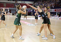 JOHANNESBURG, SOUTH AFRICA - JANUARY 25: Kelly Jury of the Silver Ferns (r) and Maryka Holtzhausen of SPAR Proteas in action during the Netball Quad Series match between South Africa and New Zealand at Ellis Park Arena on January 25, 2018 in Johannesburg, South Africa. (Photo by Reg Caldecott/Gallo Images)