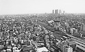 January 22, 1979, Tokyo, Japan - High-rise buildings of Shinjuku loom beyond the wide swath of clustered builodings and town houses in Tokyo. (Photo by Natsuki Sakai/AFLO)