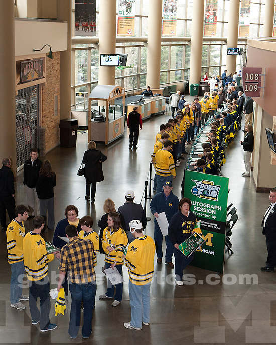 The University of Michigan ice hockey team meets fans and signs autographs at Xcel Energy Center in St. Paul, MN, on April 8, 2011.