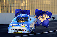 Nov. 9, 2012; Pomona, CA, USA: NHRA top alcohol funny car driver Jay Payne during qualifying for the Auto Club Finals at at Auto Club Raceway at Pomona. Mandatory Credit: Mark J. Rebilas-