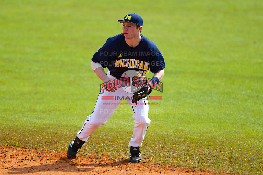 Michigan Wolverines second baseman Dylan Delaney #38 during a game against the Seton Hall Pirates at the Big Ten/Big East Challenge at Al Lang Stadium on February 18, 2012 in St. Petersburg, Florida.  (Mike Janes/Four Seam Images)