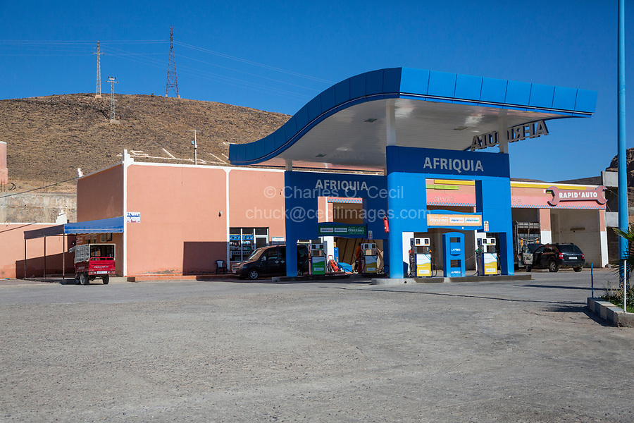 Draa River Valley, Morocco.  Modern Gas Station.