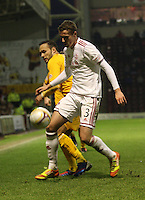 Clark Robertson gets the better of Tom Hateley in the Motherwell v Aberdeen, Clydesdale Bank Scottish Premier League match at Fir Park, Motherwell on 26.12.12.