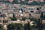 The north end of al-Haram ash-Sharif and the Muslim Quarter in the Old City of Jerusalem as viewed from the Mount of Olives.  The Old City of Jerusalem and its Walls is a UNESCO World Heritage Site.