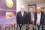 Pictured at the opening of the Comhchoiste Ghaeltacht Uibh Rathaight Food Fair with Minister Jimmy Deenihan in the Bay View Hotel on Friday night last were l-r; Brendan O'Sullivan & Patrick Moran from the Ring of Kerry Lamb group.