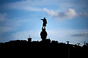 Christopher Columbus, statue . in the Harbour  in the City of Barcelona in Catalunya in Spain in Europe