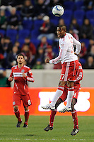 Jeremy Hall (17) of the New York Red Bulls heads the ball during the first half of a Major League Soccer match between the New York Red Bulls and the Chicago Fire at Red Bull Arena in Harrison, NJ, on March 27, 2010. The Red Bulls defeated the Fire 1-0.