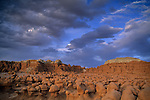 Eroded rock forms at sunset at Goblin Valley State Park, near the San Rafael Swell region, UTAH
