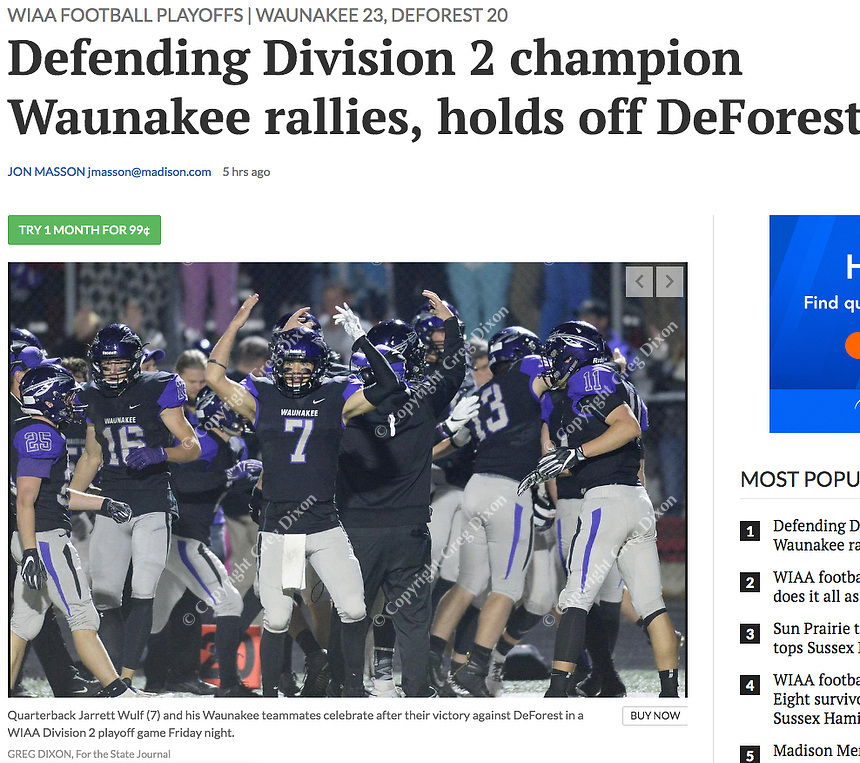 Waunakee quarterback, Jarrett Wolf, and his team celebrate, as Waunakee tops DeForest 23-20 in Wisconsin WIAA Division 2 second-round football playoffs at Waunakee High School on Friday, 10/26/18 | Wisconsin State Journal article front page Sports 10/27/18 and online at https://madison.com/wsj/sports/high-school/football/defending-division-champion-waunakee-rallies-holds-off-deforest/article_600973b9-a45e-59a0-88b4-70bf1965cab0.html