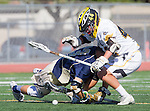 Tustin, CA 04/23/16 - Reed Watkins (Foothill #42) and  in action during the non-conference CIF varsity lacrosse game between La Costa Canyon and Foothill at Tustin Union High School.  Foothill defeated La Costa Canyon 10-9 in sudden death overtime.
