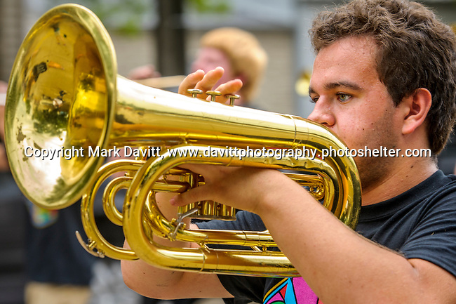It was a great way to begin Thomas Mitchell Days with a parade down Center Avenue in Mitchellville. The sounds of the Southeast Polk marching band provide rhythm and melodies to march to helping do his part, Jacob Swinton hits his horn hard enough to ring throughout the downtown.