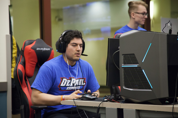 Alejandro Vicuna, member of the DePaul eSports team, competes in the BIG EAST eSports Invitational, Saturday, April 7, 2018, and Sunday, April 8, at DePaul's new gaming center on the Loop Campus. The teams played both Rocket League and League of Legends in the tournament this past weekend. Captain of the Rocket League team, Esteban Perez, was present, guiding his team to victories against Butler University, Xavier University and Marquette University. (Photo by Katie Donovan/DePaul University)