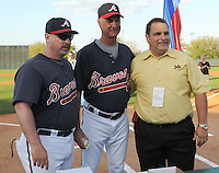 18 March 2009: Manager Phillip Wellman, left, pitching coach Derek Botelho, center, and general manager Steve DeSalvo of the Mississippi Braves, Southern League 2009 champs, as they received their rings their rings from the Atlanta Braves at Spring Training camp at Disney's Wide World of Sports in Lake Buena Vista, Fla. Photo by:  Tom Priddy/Four Seam Images