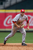 Houston Cougars first baseman Casey Grayson #18 on defense during the NCAA baseball game against the Texas Longhorns on March 1, 2014 during the Houston College Classic at Minute Maid Park in Houston, Texas. The Longhorns defeated the Cougars 3-2. (Andrew Woolley/Four Seam Images)