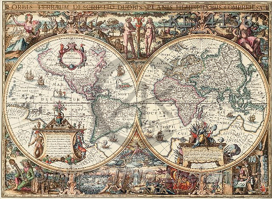 Interlitho, MASCULIN, paintings, old world map(KL4138,#M#)