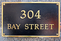 A Bay Street address board is seen in Toronto financial district April 19, 2010. Bay Street is the centre of Toronto's financial district and is often used by metonymy to refer to Canada's financial industry just as Wall Street is used in the United States.