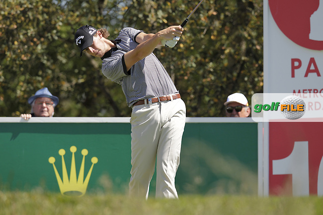 Thomas Pieters (BEL) tees off the 10th tee during Thursday's Round 1 of the 2014 Open de Espana held at the PGA Catalunya Resort, Girona, Spain. Wednesday 15th May 2014.<br /> Picture: Eoin Clarke www.golffile.ie