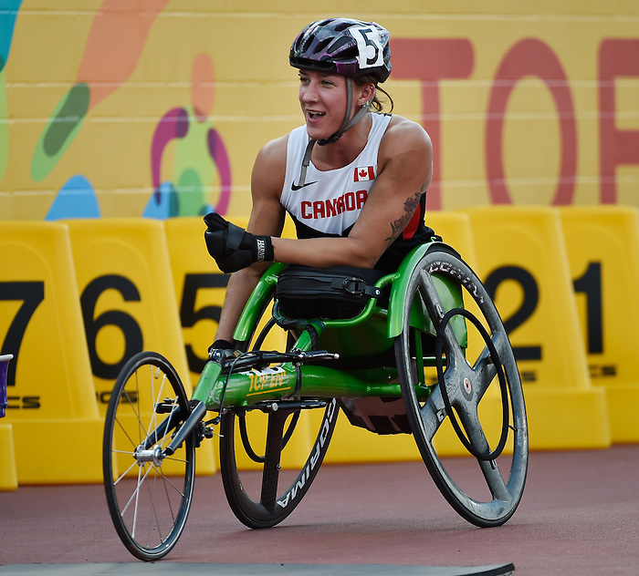 Toronto, ON - Aug 13 2015 - Jessica Frotten competes in the Women's 100m T53 Final in the CIBC Athletics Stadium during the Toronto 2015 Parapan American Games  (Photo: Matthew Murnaghan/Canadian Paralympic Committee)