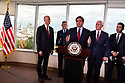 FORT LAUDERDALE, FLORIDA - MARCH 07: Sen. Rick Scott (R-FL),  U.S. Coast Guard Admiral Eric Jones, Florida Governor Ron DeSantis, U.S. Vice President Mike Pence and Chad F. Wolf, the acting Secretary of Homeland Security stand together during a press conference after participating in a discussion held at Port Everglades Administration Building about possible coronavirus (COVID-19) issues that the cruise line company leaders are experiencing on Saturday on March 07, 2020 in Fort Lauderdale, Florida. U.S. Vice President Pence and the coronavirus task force are heading up the efforts to combat the virus in the United States.  ( Photo by Johnny Louis / jlnphotography.com )
