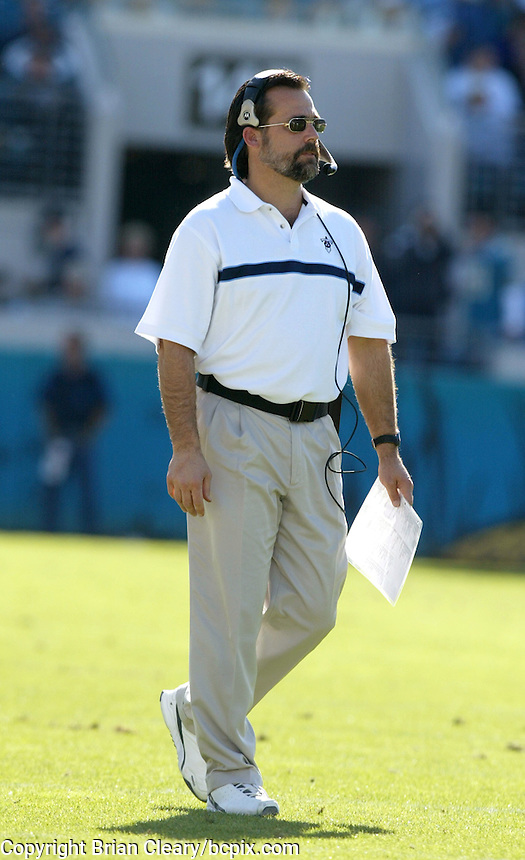 Tennessee Titans head coach Jeff Fisher watches the action during a game against the Jacksonville Jaguars in Jacksonville, FL on Sunday, December 22, 2002.  Tennessee won the game 28 to 10. (Photo by Brian Cleary/www.bcpix.com)