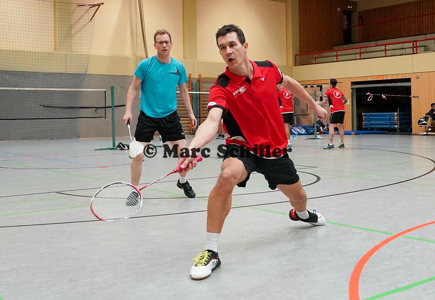 Doppel 1. Mannschaft Florian Bernhard-Kolbe, Julian Hofmann (blau) - Mörfelden-Walldorf 09.02.2020: RW Walldorf Badminton