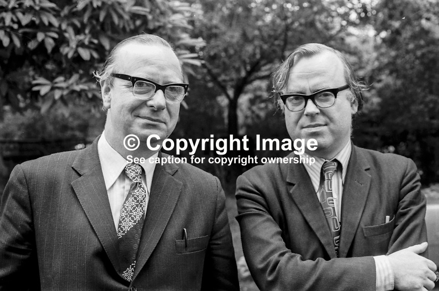 SDLP candidates, October 1974, UK General Election, Gerry Fitt, West Belfast, left, and Ben Caraher, South Belfast. 197410008523<br />