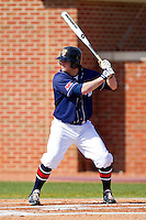 C.J. Gillman #16 of the Dayton Flyers at bat against the High Point Panthers at Willard Stadium on February 26, 2012 in High Point, North Carolina.    (Brian Westerholt / Four Seam Images)