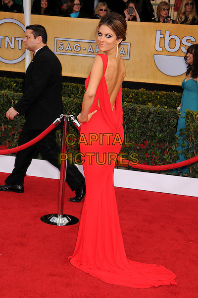 Maria Menounos.Arrivals at the 19th Annual Screen Actors Guild Awards at the Shrine Auditorium in Los Angeles, California, USA..27th January 2013.SAG SAGs full length red dress backless looking over shoulder train hand on hip.CAP/ADM/BP.©Byron Purvis/AdMedia/Capital Pictures