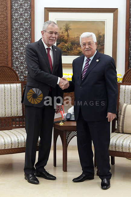 Palestinian president Mahmoud Abbas (R) meets with his Austrian counterpart Alexander Van der Bellen in the West Bank city of Ramallah on February 5, 2019. Photo by Thaer Ganaim