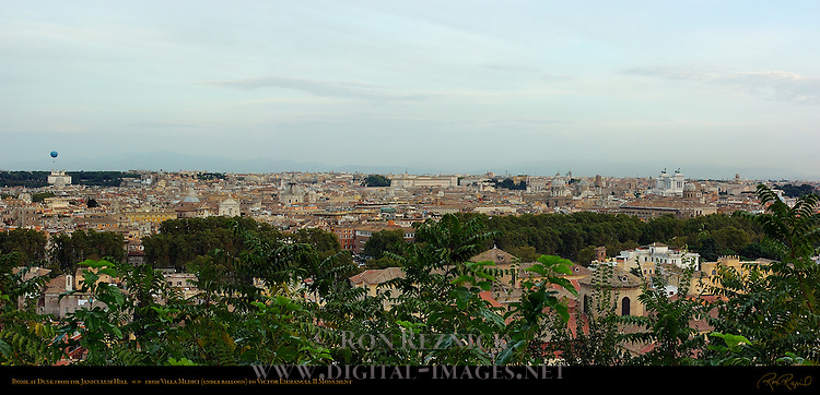 Dusk View from the Janiculum Hill Villa Medici and Trevi Section of Rome to Victor Emmanuel II Monument