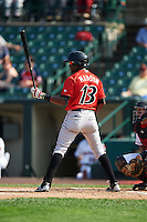 Indianapolis Indians second baseman Alen Hanson (13) at bat during a game against the Rochester Red Wings on June 10, 2015 at Frontier Field in Rochester, New York.  Indianapolis defeated Rochester 5-3.  (Mike Janes/Four Seam Images)