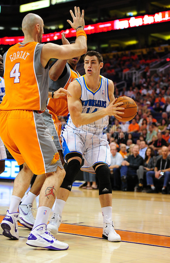 Mar. 25, 2011; Phoenix, AZ, USA; New Orleans Hornets forward (14) Jason Smith against the Phoenix Suns at the US Airways Center. Mandatory Credit: Mark J. Rebilas-