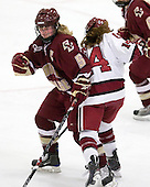 Tracy Johnson (BC - 5), Jillian Dempsey (Harvard - 14) - The Harvard University Crimson defeated the Boston College Eagles 5-0 in their Beanpot semi-final game on Tuesday, February 2, 2010 at the Bright Hockey Center in Cambridge, Massachusetts.