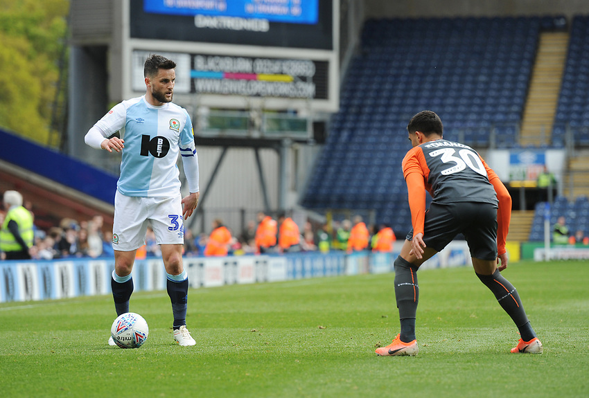 Blackburn Rovers' Craig Conway under pressure from Swansea City's Yan Dhanda<br /> <br /> Photographer Kevin Barnes/CameraSport<br /> <br /> The EFL Sky Bet Championship - Blackburn Rovers v Swansea City - Sunday 5th May 2019 - Ewood Park - Blackburn<br /> <br /> World Copyright © 2019 CameraSport. All rights reserved. 43 Linden Ave. Countesthorpe. Leicester. England. LE8 5PG - Tel: +44 (0) 116 277 4147 - admin@camerasport.com - www.camerasport.com