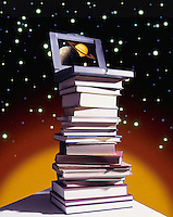Laptop computer sitting on a pile of books against a space background, knowledge, old and new . Saturn and several of its moons are displayed on the computer screen.