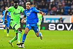 01.12.2018, wirsol Rhein-Neckar-Arena, Sinsheim, GER, 1 FBL, TSG 1899 Hoffenheim vs FC Schalke 04, <br /> <br /> DFL REGULATIONS PROHIBIT ANY USE OF PHOTOGRAPHS AS IMAGE SEQUENCES AND/OR QUASI-VIDEO.<br /> <br /> im Bild: Salif Sane (FC Schalke 04 #26) gegen <br /> Joelinton (TSG Hoffenheim #34)<br /> <br /> Foto &copy; nordphoto / Fabisch