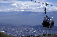 View of Quito, Ecuador, and surroundings and the teleferico, a cable car system that opened in 2005. The city of Quito was made a UNESCO World Heritage Site in 1978.