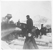 Derailed engine #219 ? while bucking snow probably at Crested Butte.<br /> D&amp;RG  Crested Butte, CO  Taken by Moore, Merle