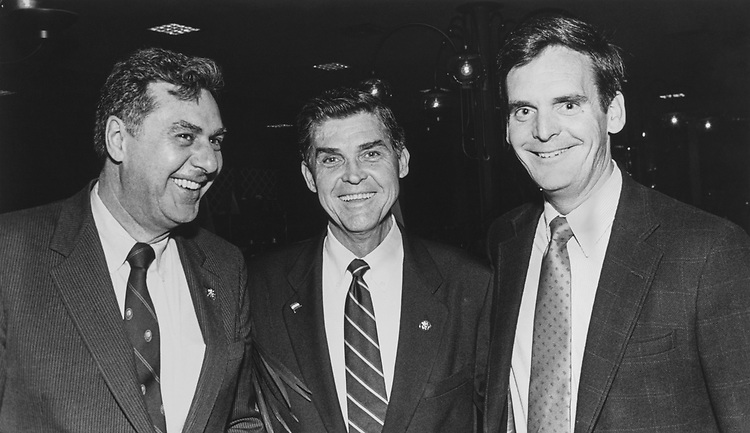 Rep. Donald Buz Lukens, R-Ohio, Rep. Dick Armey, R-Tex. and Rep Judd Gregg, R-N.H. pose together for a picture in 1986. (Photo by CQ Roll Call)